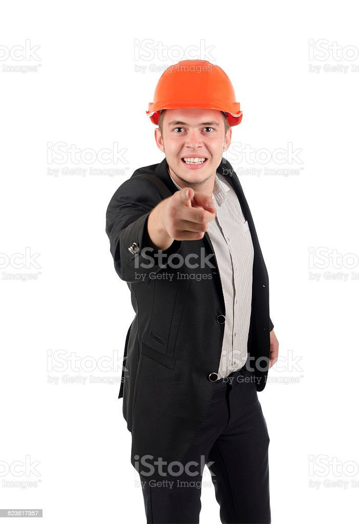 Angry young architect snarling and pointing stock photo