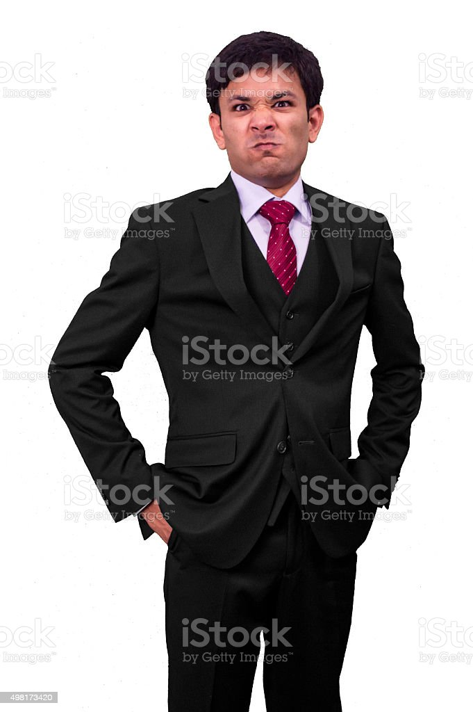 Angry Young Business Man. stock photo