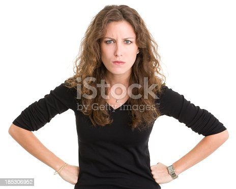 istock Angry Young Woman Frowning 185306952
