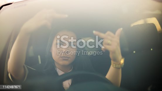 Driving, Mirror - Object, Reflection, Human Hand, Shouting, Fuck off, Upset driving woman, Middle finger