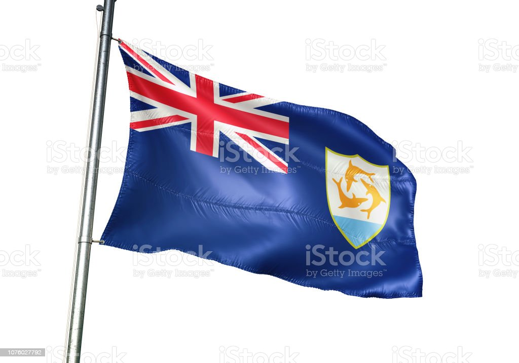 Anguilla anguillian flag waving isolated on white background realistic stock photo