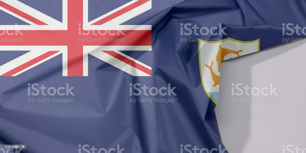Anguilla fabric flag crepe and crease with white space. stock photo