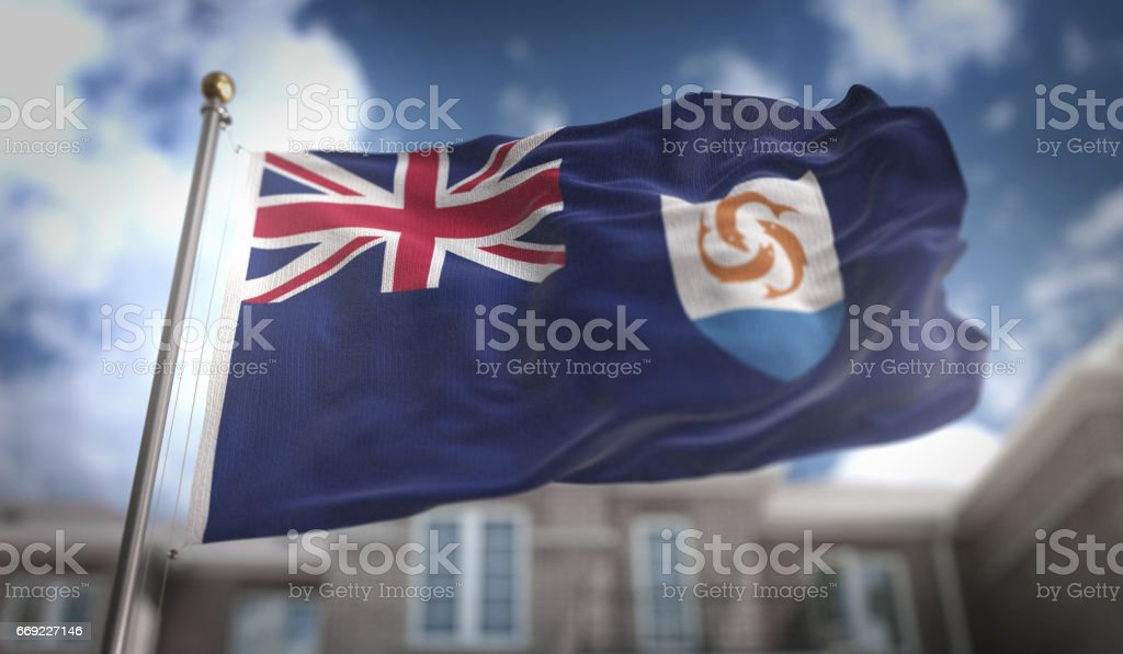 Anguilla Flag 3D Rendering on Blue Sky Building Background stock photo