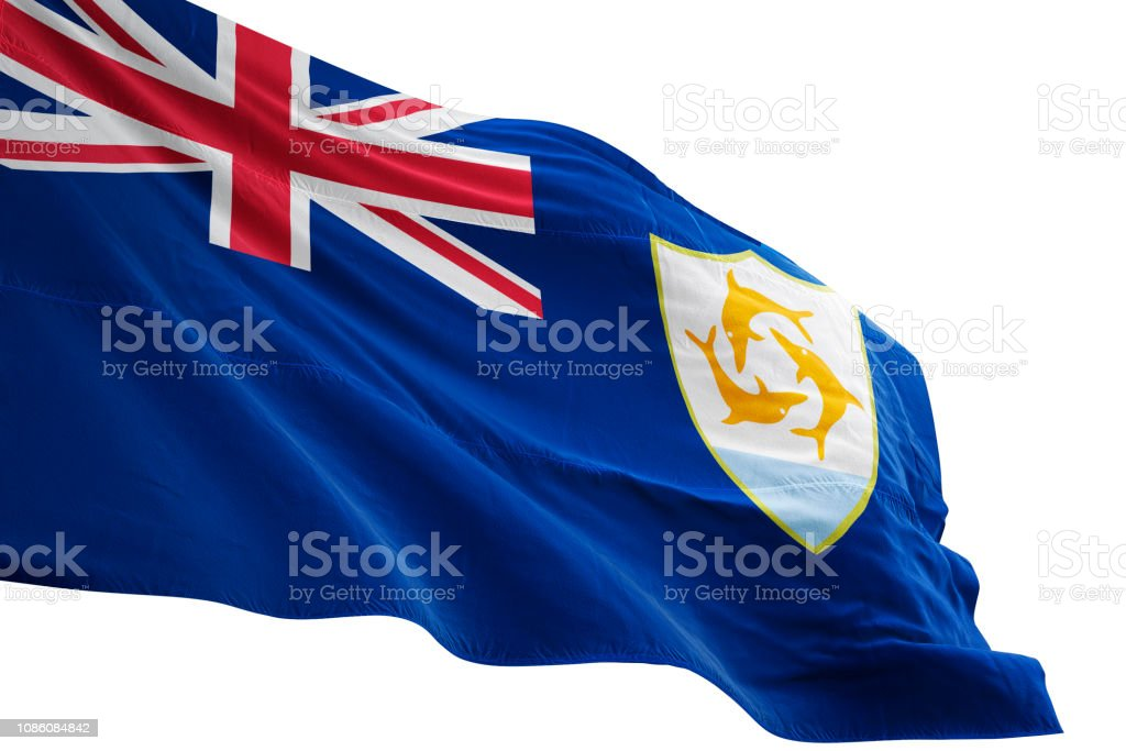 Anguilla flag close-up waving isolated white background stock photo