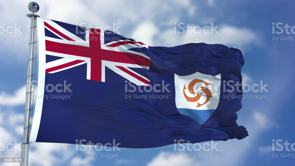 Anguilla Flag in a Blue Sky stock photo