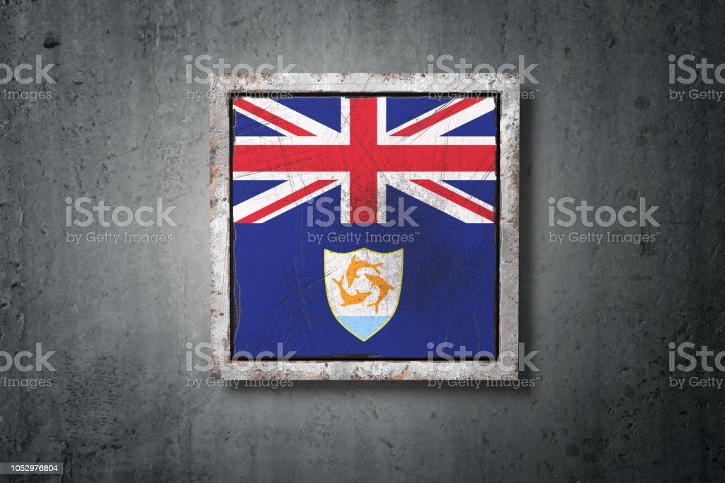 Anguilla flag in concrete wall stock photo