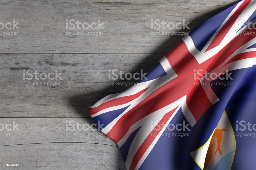 Anguilla flag over a wooden surface stock photo