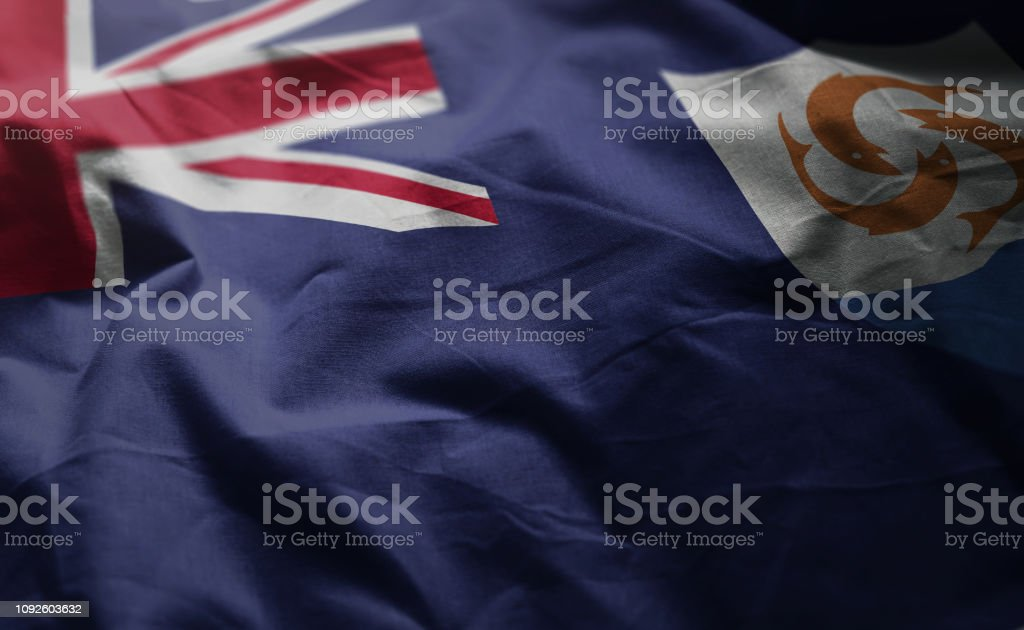 Anguilla Flag Rumpled Close Up stock photo