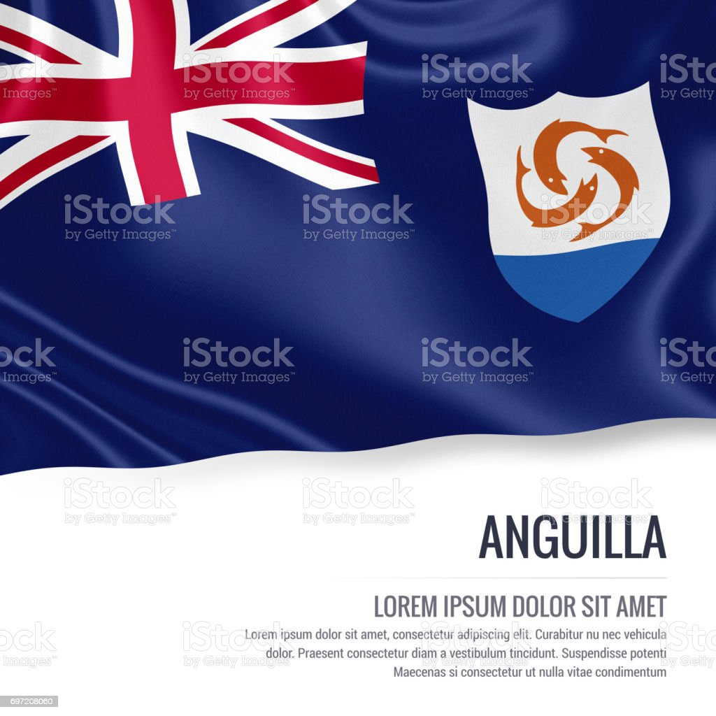 Anguilla flag. Silky flag of Anguilla waving on an isolated white background with the white text area for your advert message. 3D rendering. stock photo