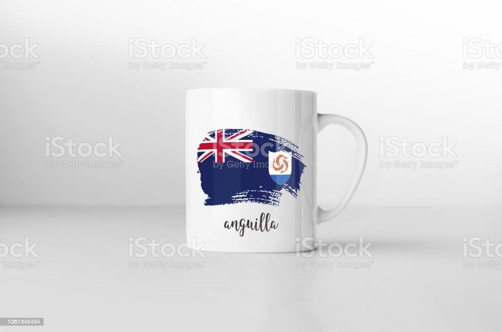 Anguilla flag souvenir mug on white background. 3D rendering. stock photo