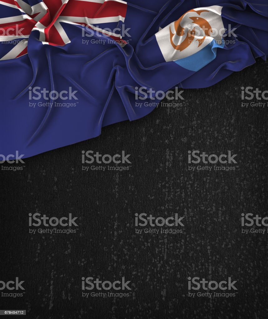 Anguilla Flag Vintage on a Grunge Black Chalkboard With Space For Text stock photo