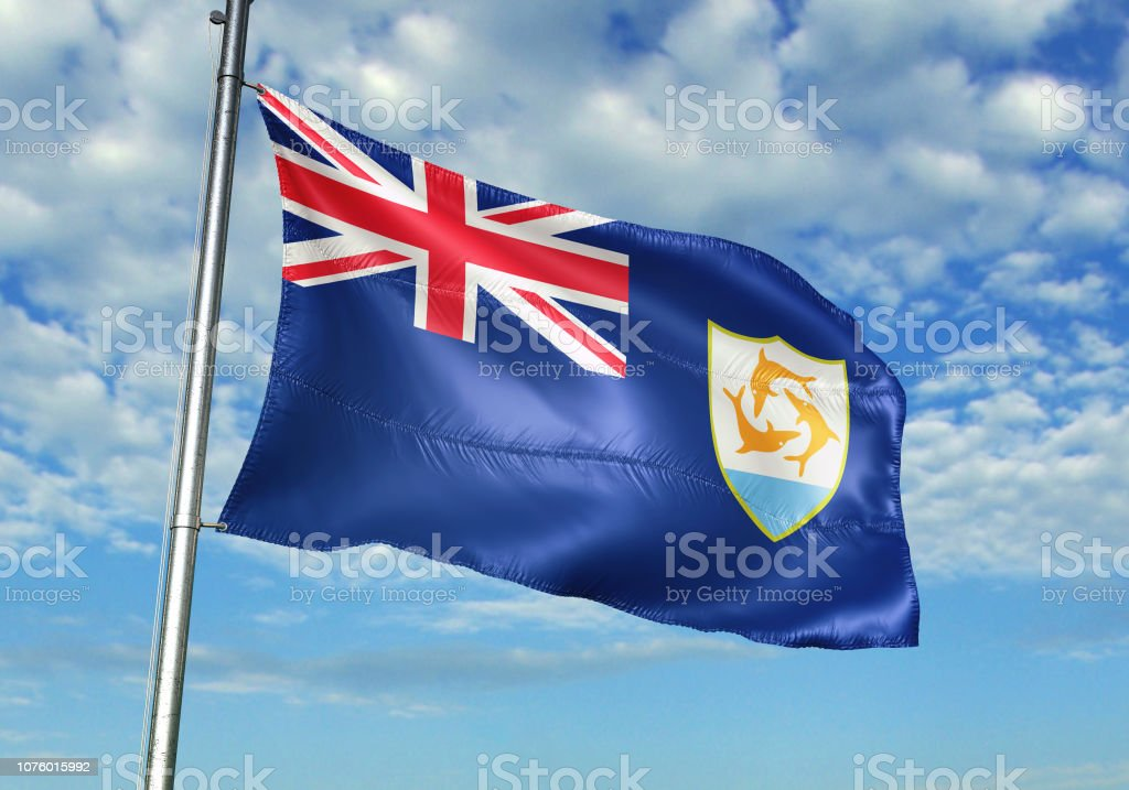 Anguilla flag waving cloudy sky background realistic 3d illustration stock photo
