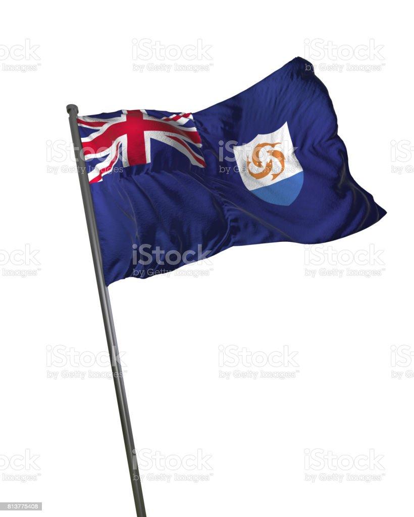 Anguilla Flag Waving Isolated on White Background Portrait stock photo