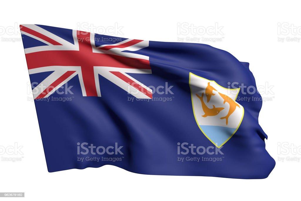 Anguilla flag waving stock photo
