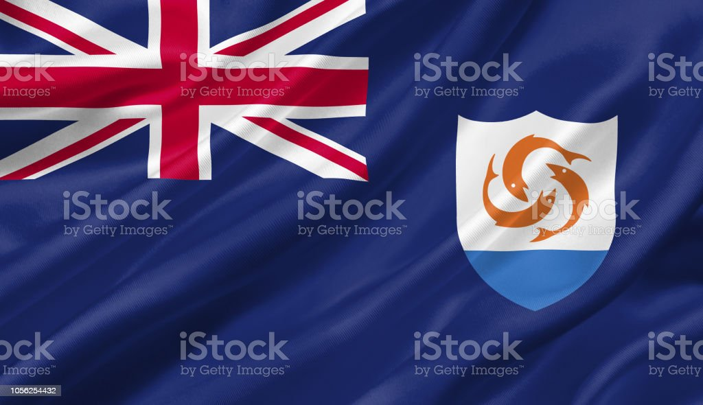 Anguilla flag waving with the wind, 3D illustration. stock photo