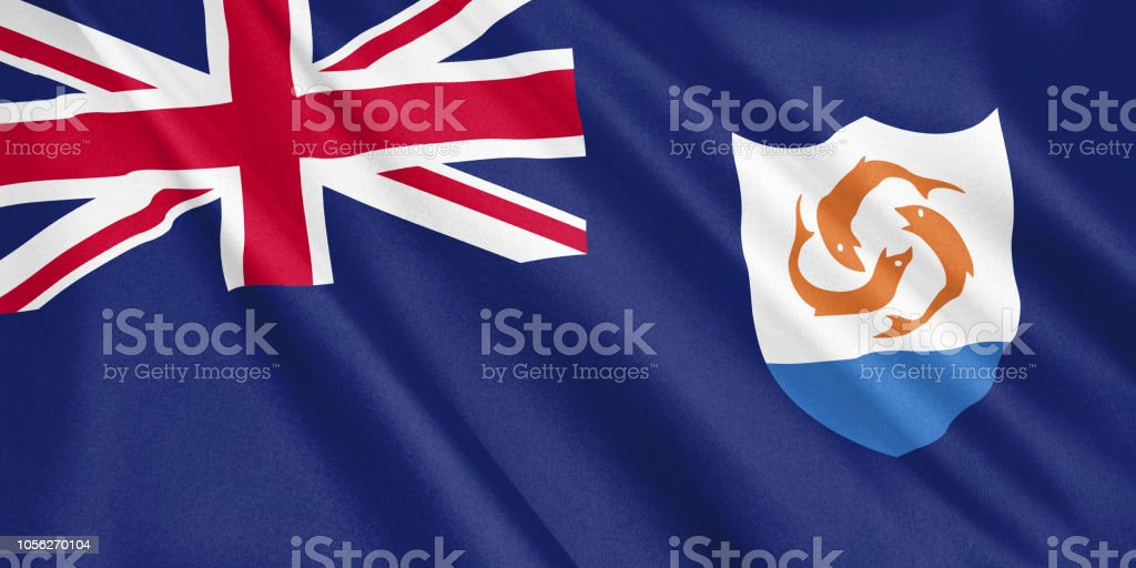 Anguilla flag waving with the wind, wide format, 3D illustration. 3D rendering. stock photo