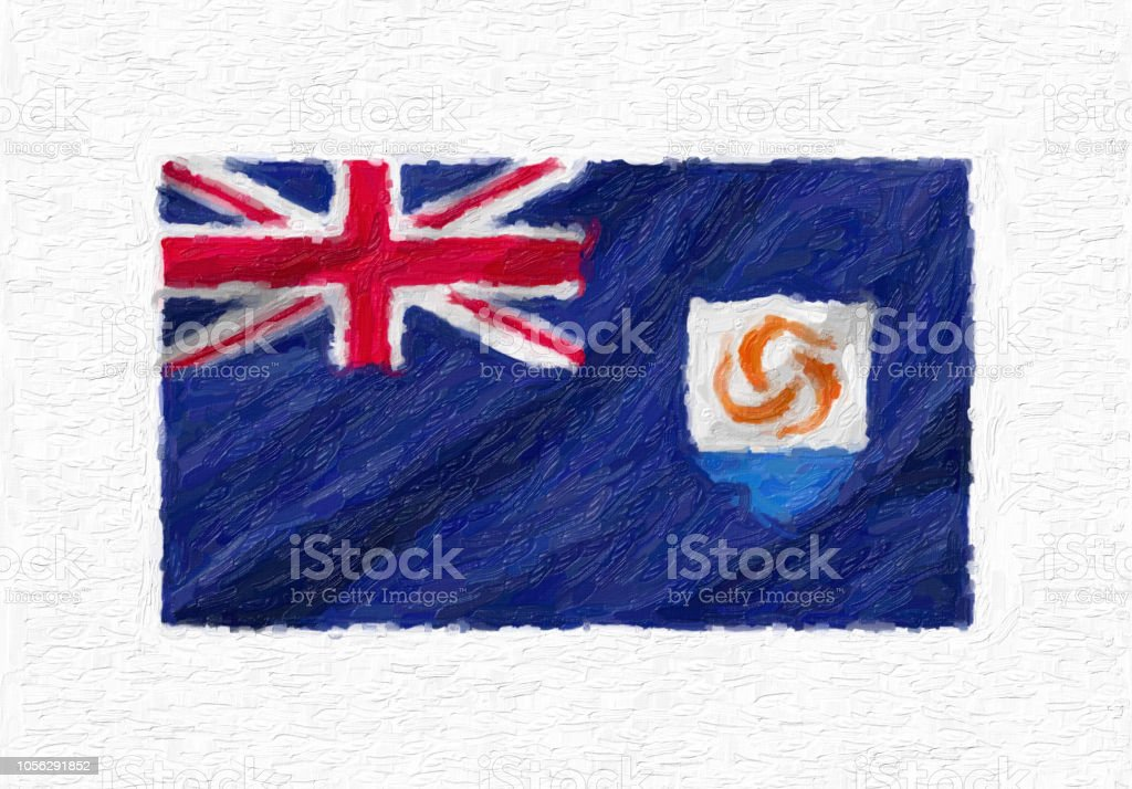 Anguilla hand painted waving national flag, oil paint isolated on white canvas, 3D illustration. stock photo
