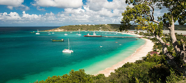 anguilla island, caribbean sea - bay of water stock pictures, royalty-free photos & images