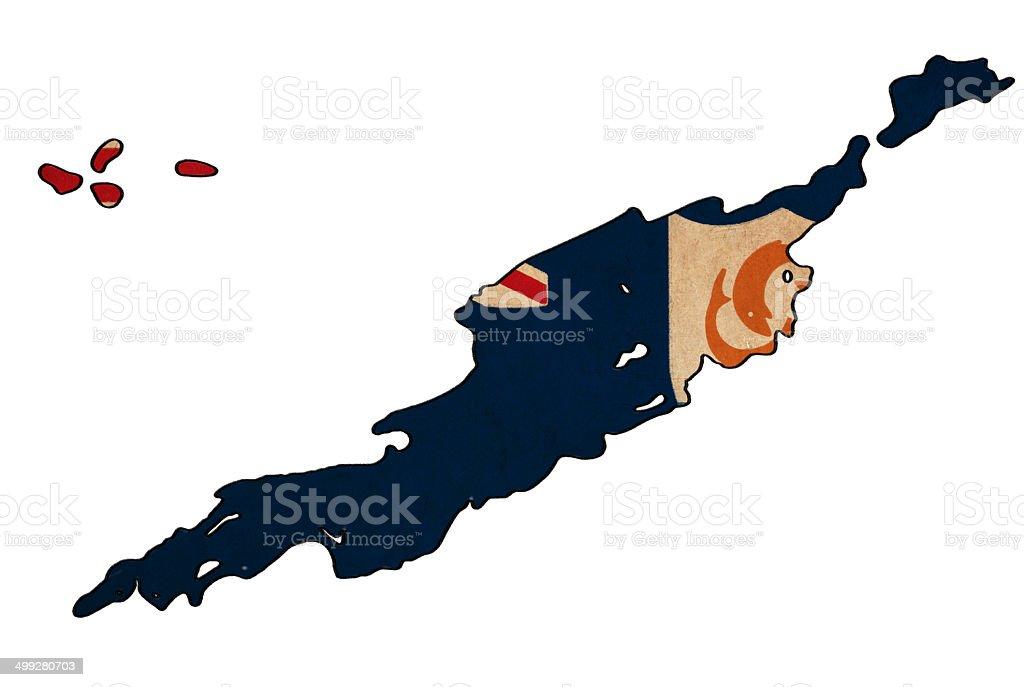 Anguilla map on Anguilla flag drawing stock photo