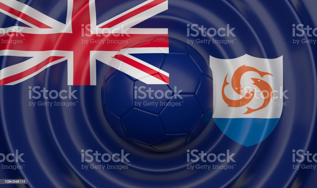 Anguilla, soccer ball on a wavy background stock photo