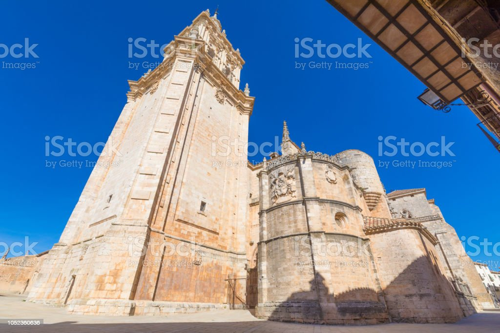 angular of cathedral Burgo de Osma from down stock photo