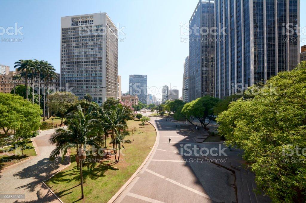 Anhangabau valley at Sao Paulo city. stock photo
