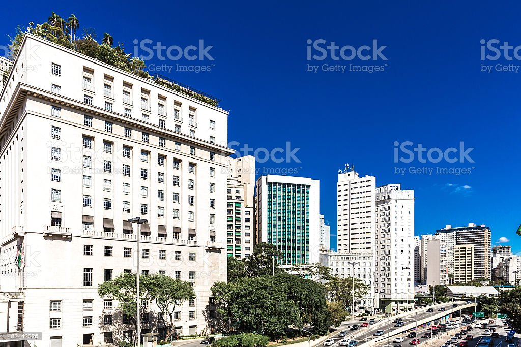 Anhangabau Valley in Sao Paulo, Brazil stock photo