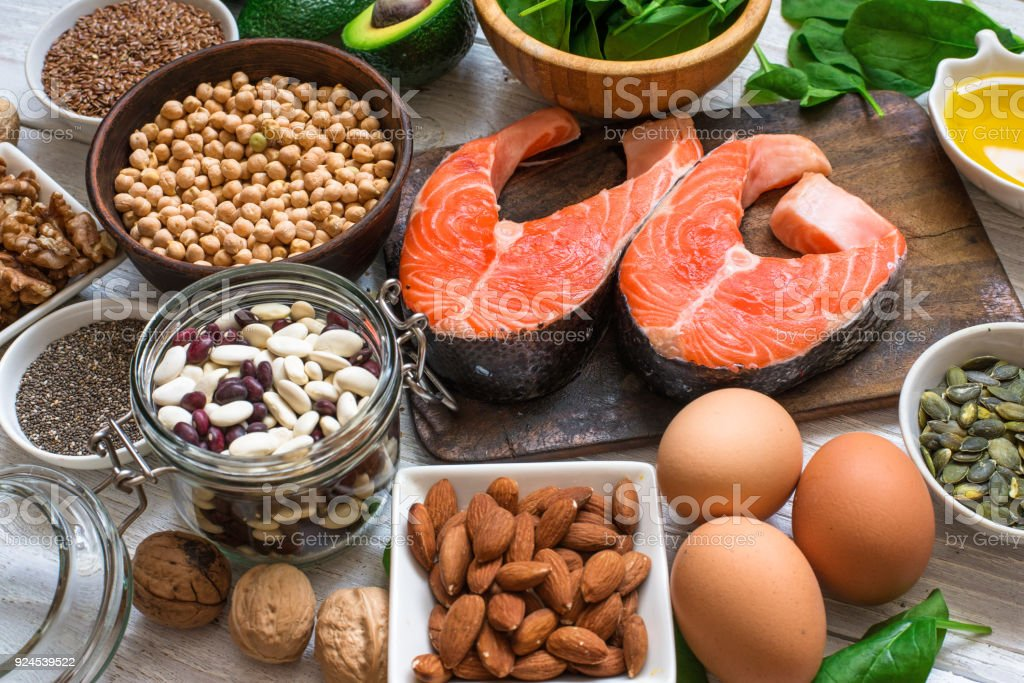 Animal and vegetable sources of omega 3 acids stock photo