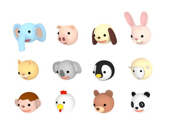 Animal faces illustration set Downward , 3D illustration stock photo