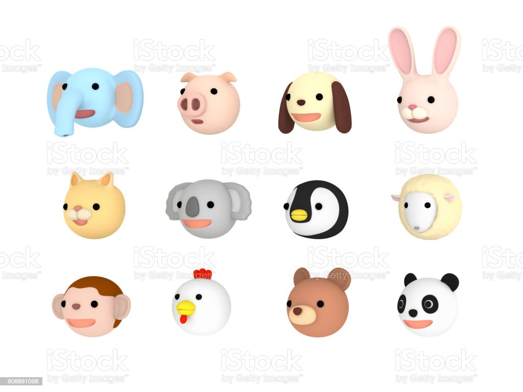 Animal faces illustration set Left facing , 3D illustration stock photo