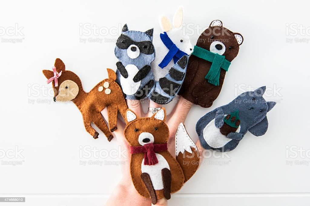 Animal felt finger puppets stock photo