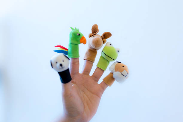Animal felt finger puppets Performing Arts Event, Teddy Bear, Theatrical Performance, Toy, Finger Puppet animal hand stock pictures, royalty-free photos & images
