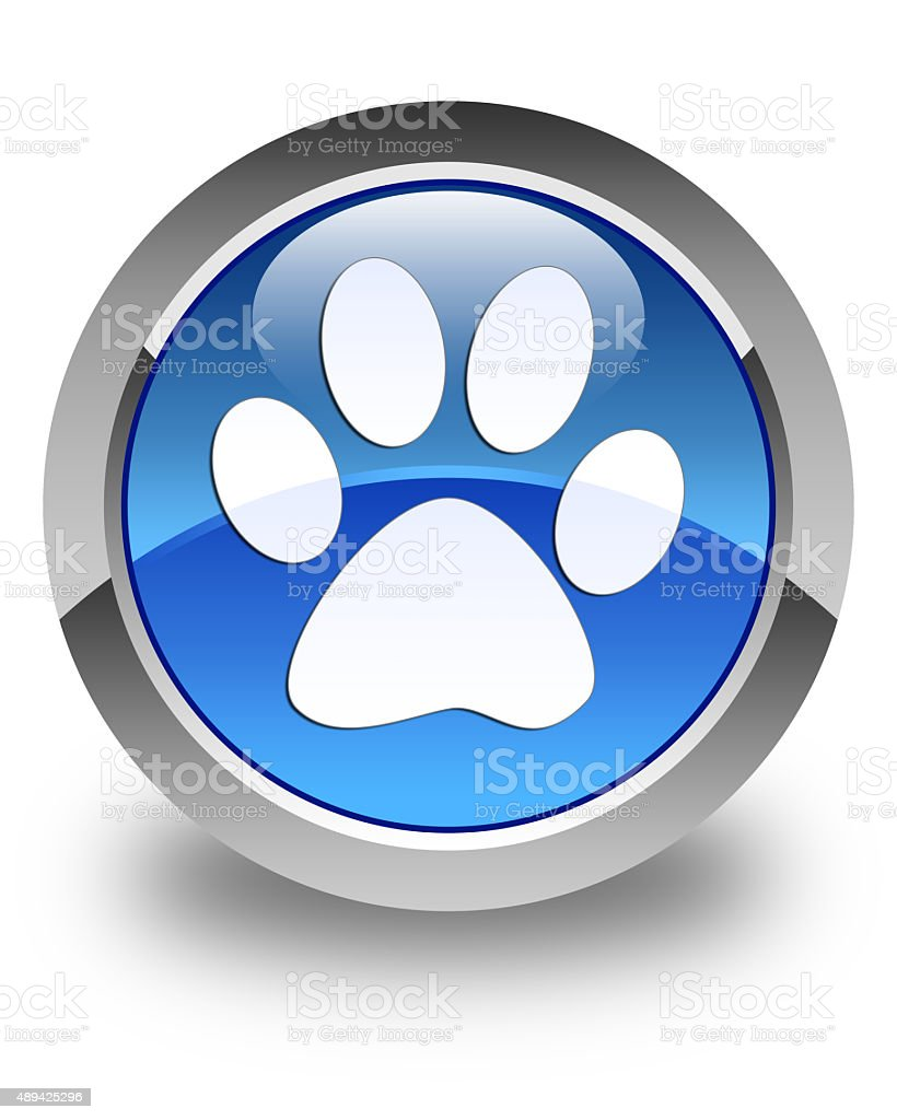 Animal footprint icon glossy blue round button stock photo