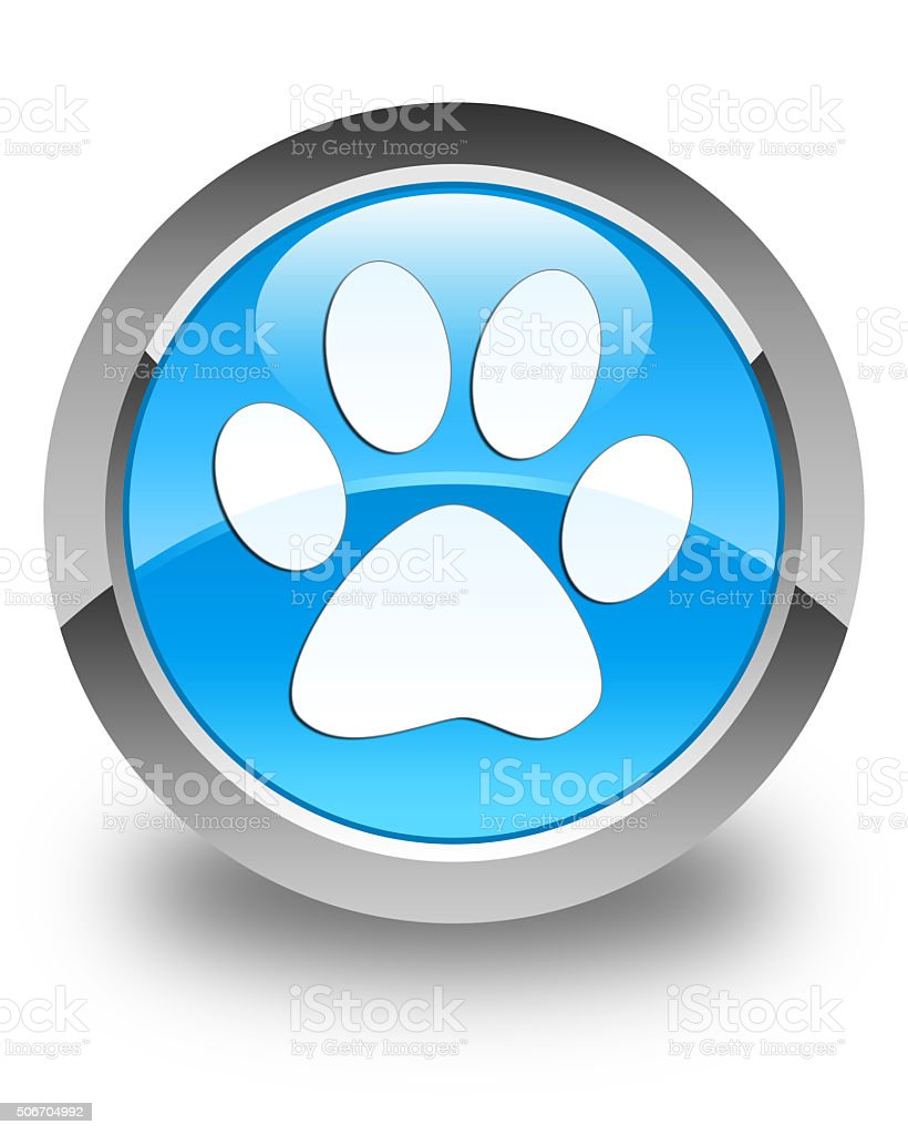 Animal footprint icon glossy cyan blue round button stock photo