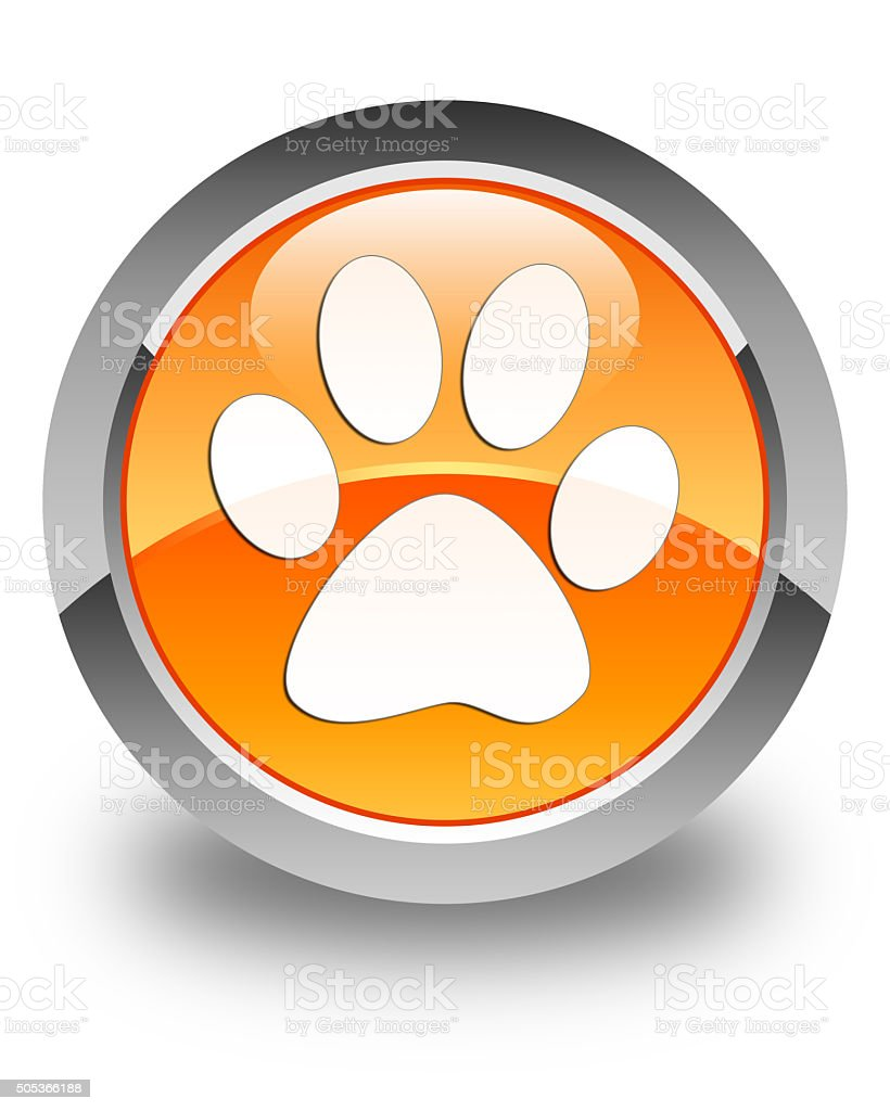 Animal footprint icon glossy orange round button stock photo