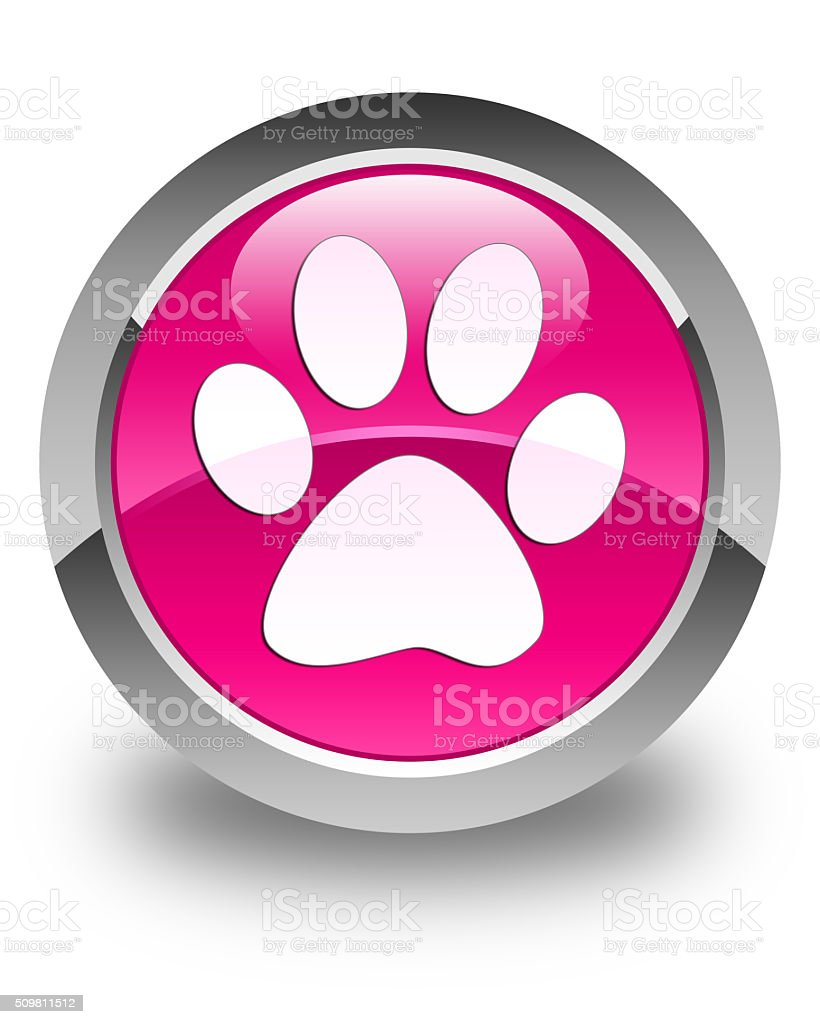 Animal footprint icon glossy pink round button stock photo
