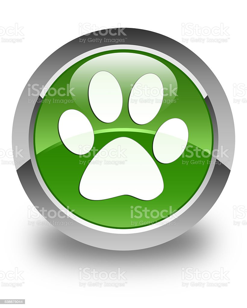 Animal footprint icon glossy soft green round button stock photo