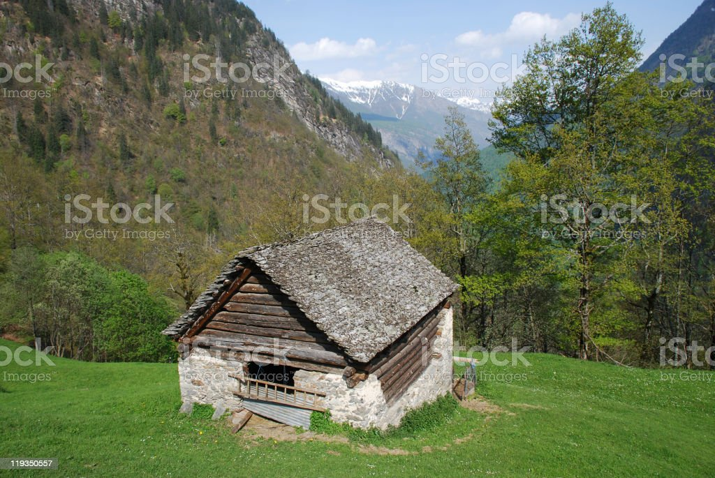 Animal house and Bosco Gurin Valley seen from Cerentino stock photo