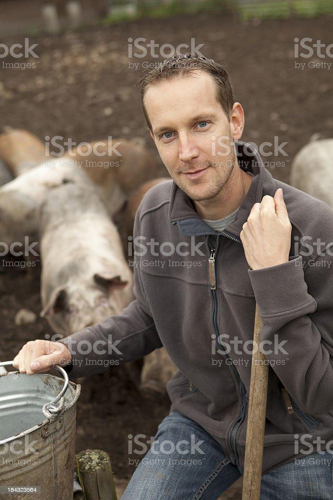 Animal husbandry and close up of a farmer. stock photo