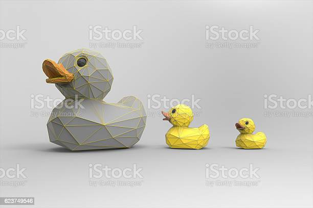 Photo of Animal Low poly Rubber ducks Family isolated on white background