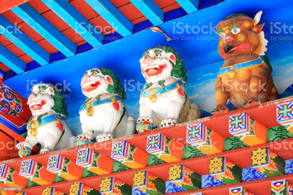 animal modelling painted decoration in a temple, closeup of photo stock photo
