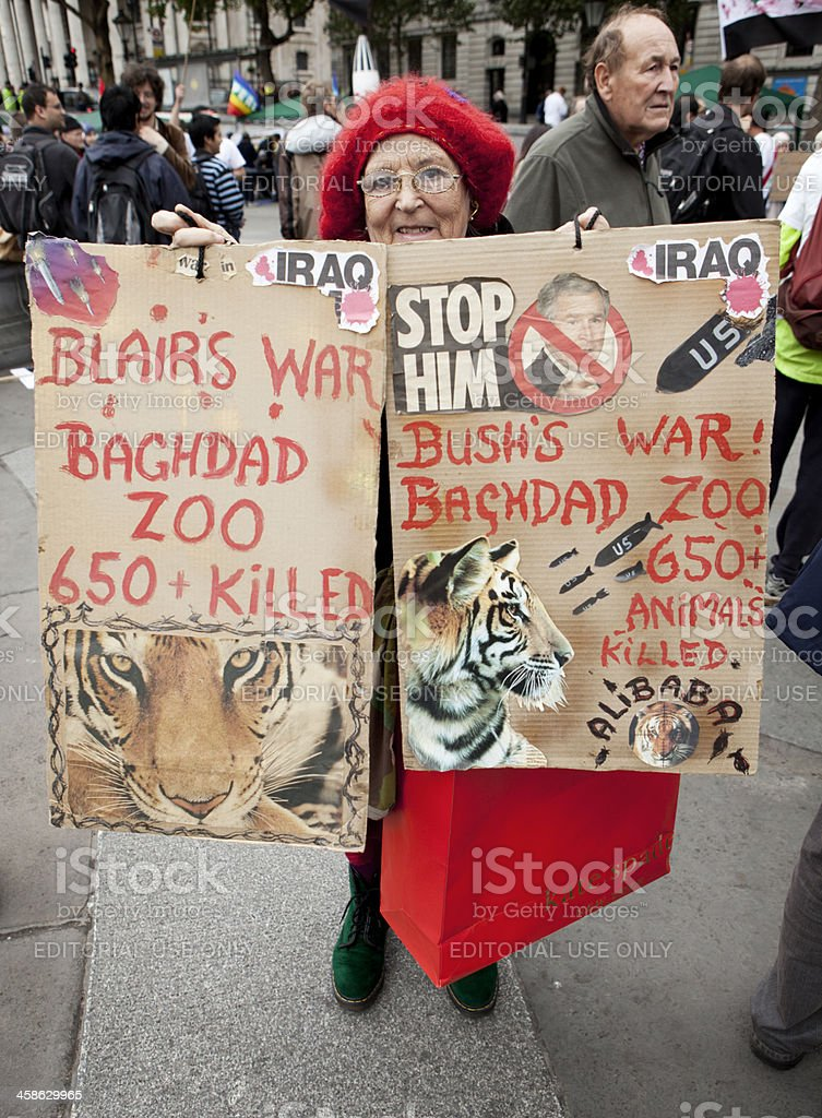 Animal Rights / Anti-War protester stock photo