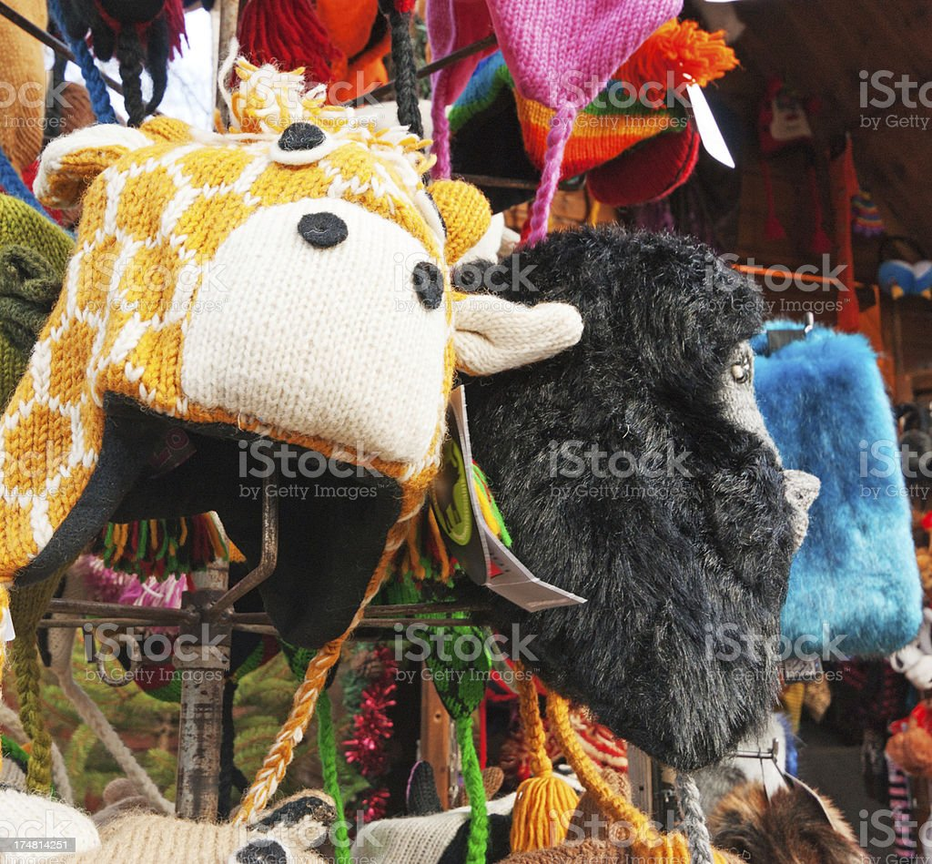 Animal shaped knitted hats display royalty-free stock photo