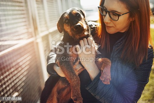 Young woman in dog shelter.