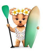 Funny animal wearing swimsuit and holding surf and paddle. Concept summer holidays, travel vacation concept. Realistic 3D illustration.