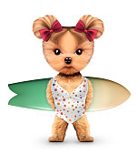 Funny animal wearing swimsuit and holding surf. Concept summer holidays, travel vacation concept. Realistic 3D illustration.