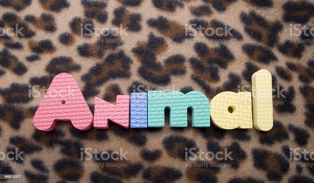 Animal words on print background royalty-free stock photo
