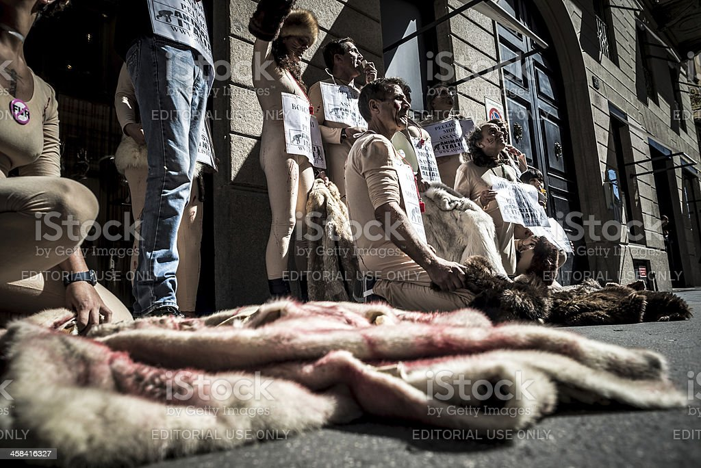 Animalisti Italiani protest against Milan Fashion Week on Septem stock photo
