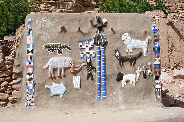 Animals and Dogon masks. stock photo