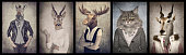 Animals in clothes. Concept graphic in vintage style. Zebra, deer, moose, cat, goat